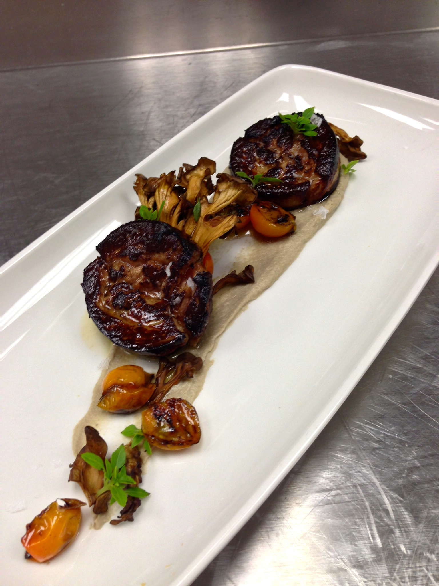 foie gras, eggplant, labne, sungold tomatoes, maitake, basil