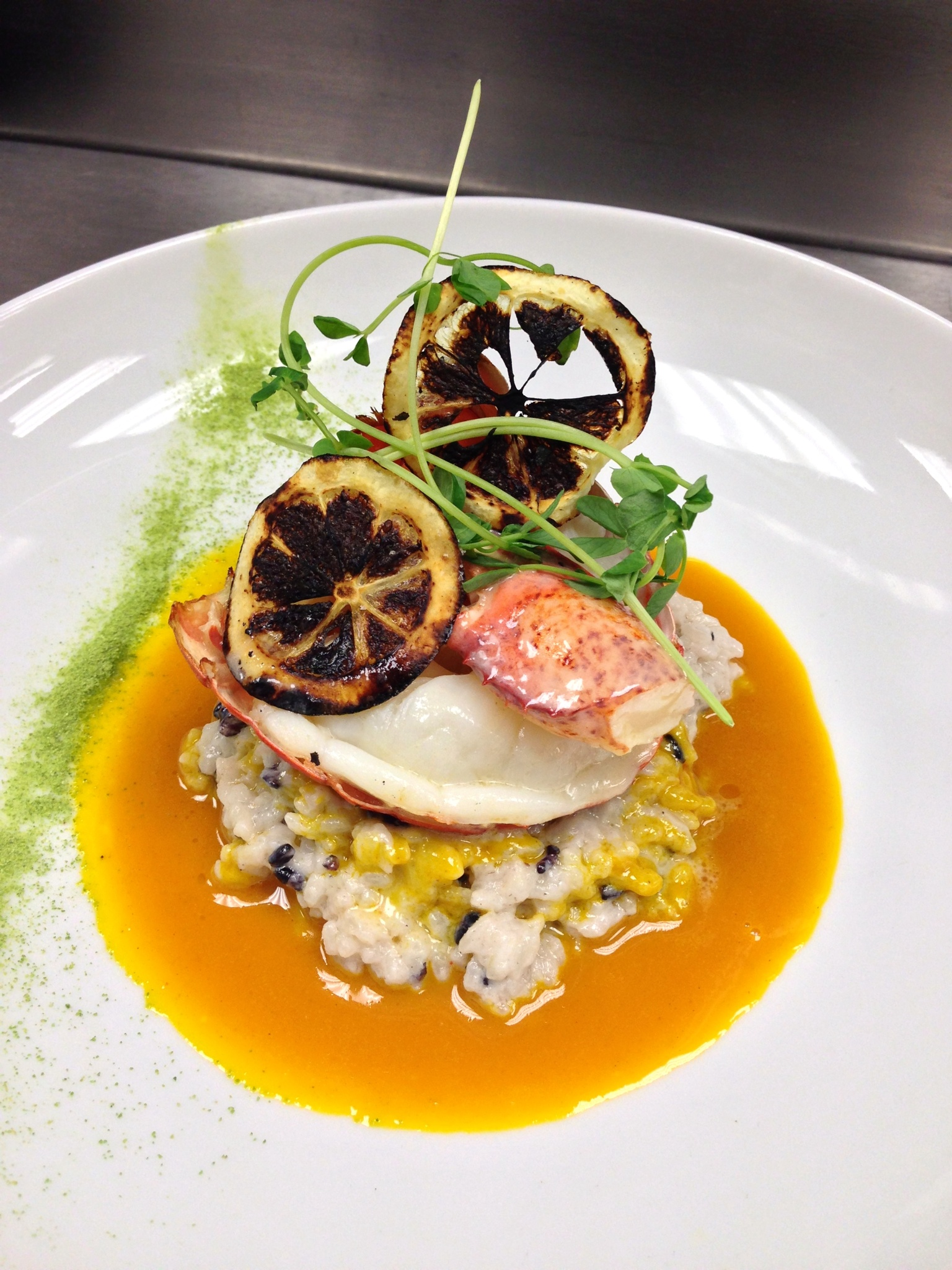 point judith lobster, coconut risotto, carrot, pea, lemon