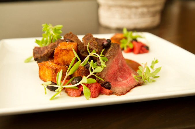 wagyu, strawberry bbq, polenta tots, stone crop