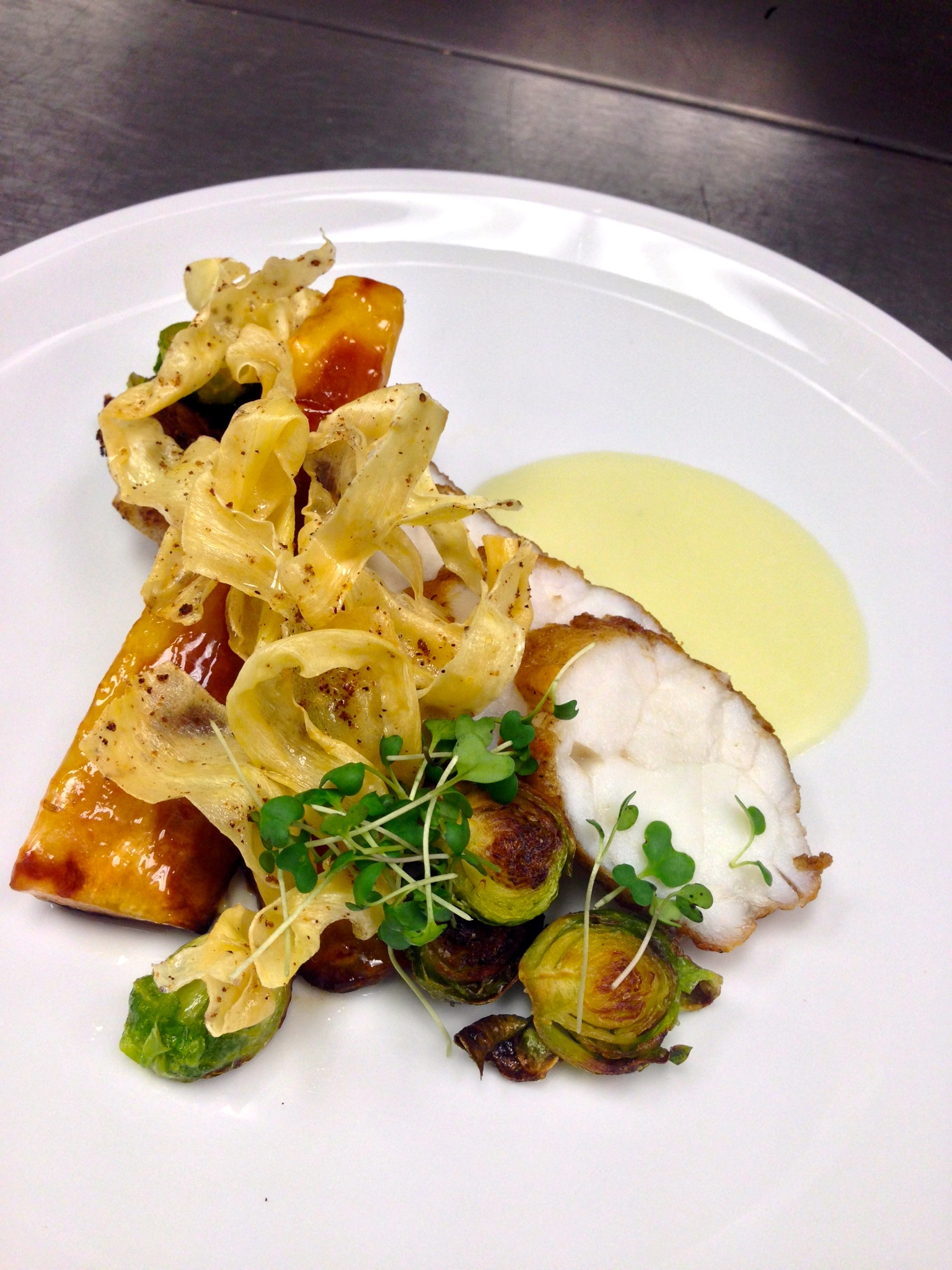 monk fish, parsnip, brussels sprouts, yuzu, juniper