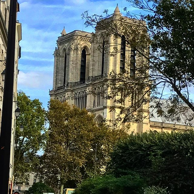 Heartbreaking. Absolutely heartbreaking. I will miss sitting at my favorite cafe with the best view. . . . . . . . #notredame #notredamecathedral #notredamedeparis #fire #paris #parisfrance #sosad