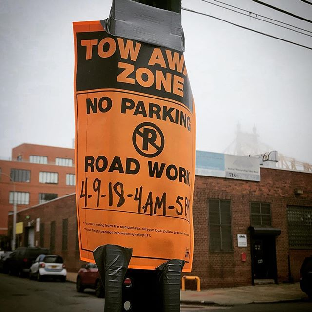 Oh NYC. I shall park here as you do not have the year correct. #comegetme . . . . . #parking #parkingfail #cheflife #wrongyear #nyc #nycparkingsigns #taxeshardatwork #fog #bridge #queensborobridge #longislandcity