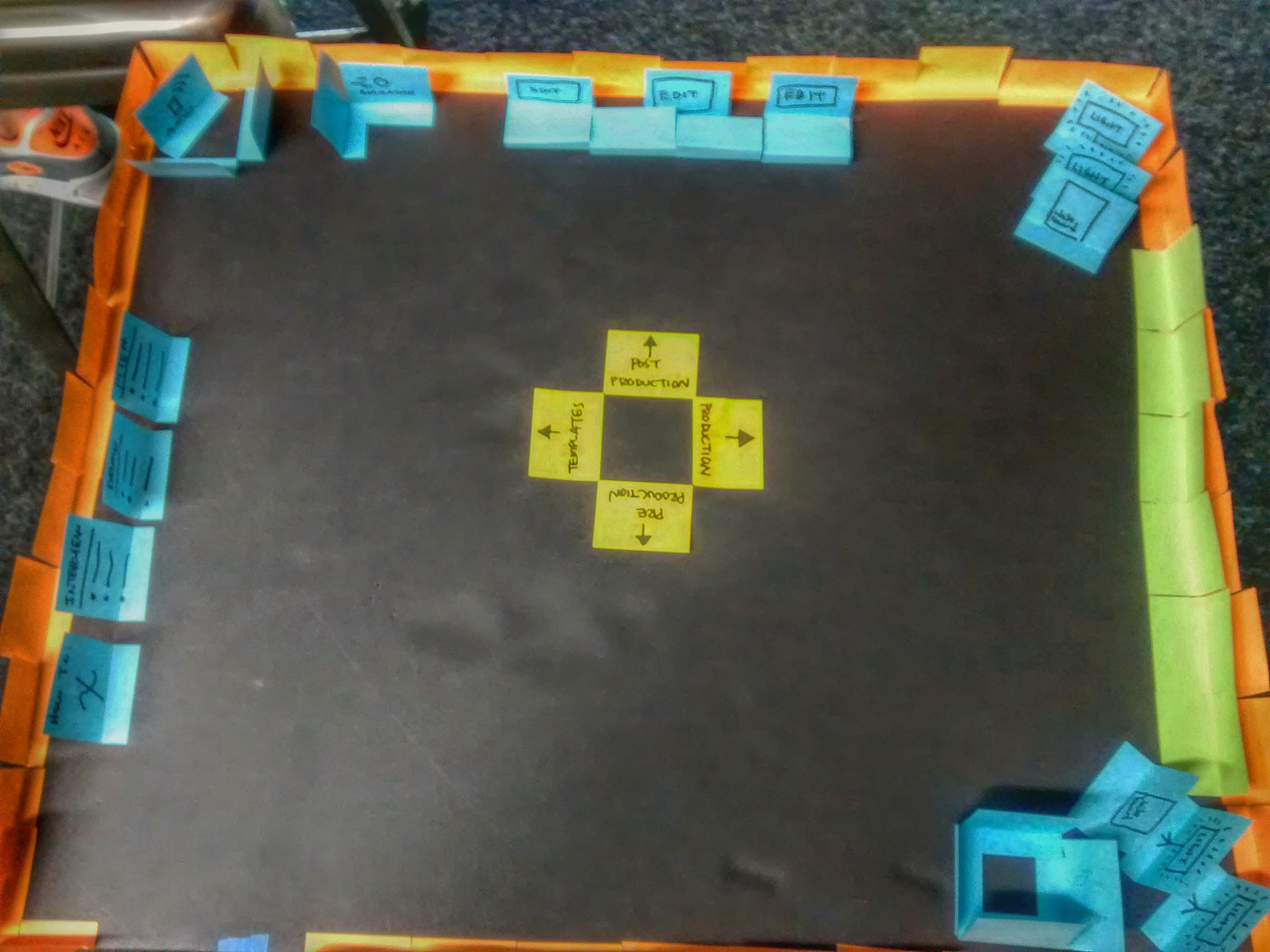 Seamus created an early prototype of the space using sticky notes on black poster board.