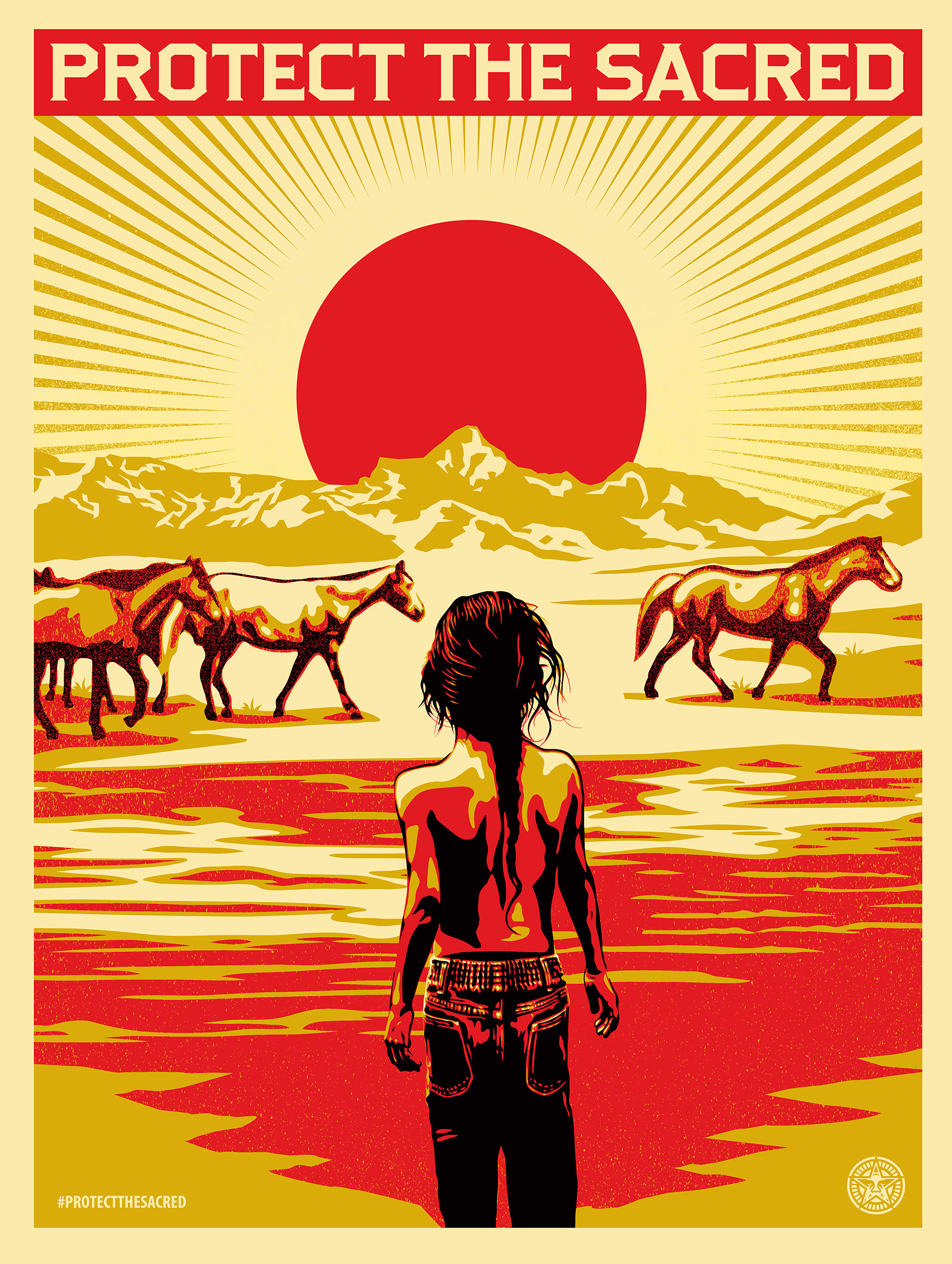 Ramona White Plume and the White Plume family hang out at their family land and move horses to another property. (Aaron Huey & Shepard Fairey)