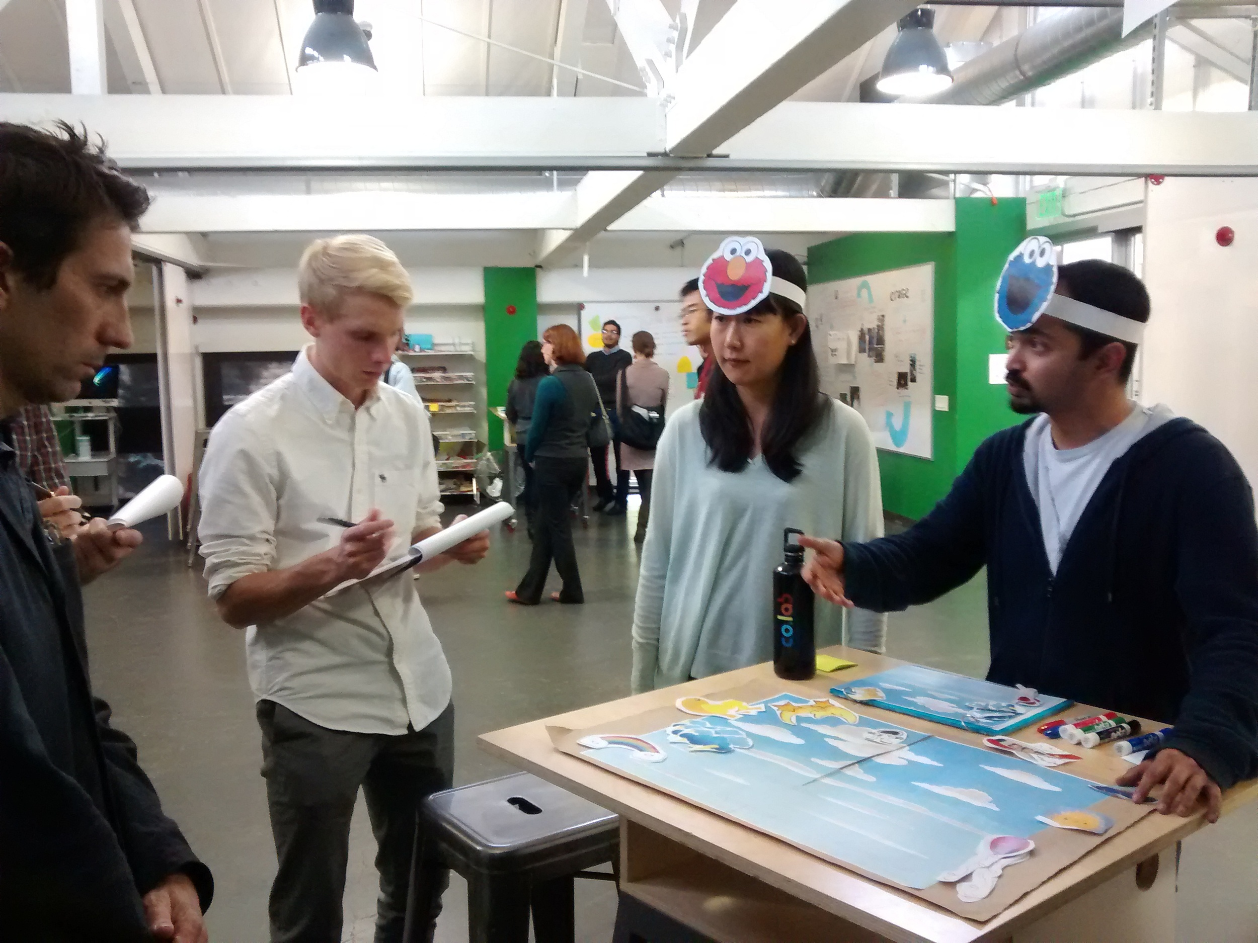 "Students present the ""Convas"" prototype to members of the Sesame Workshop team. (Emi Kolawole)"