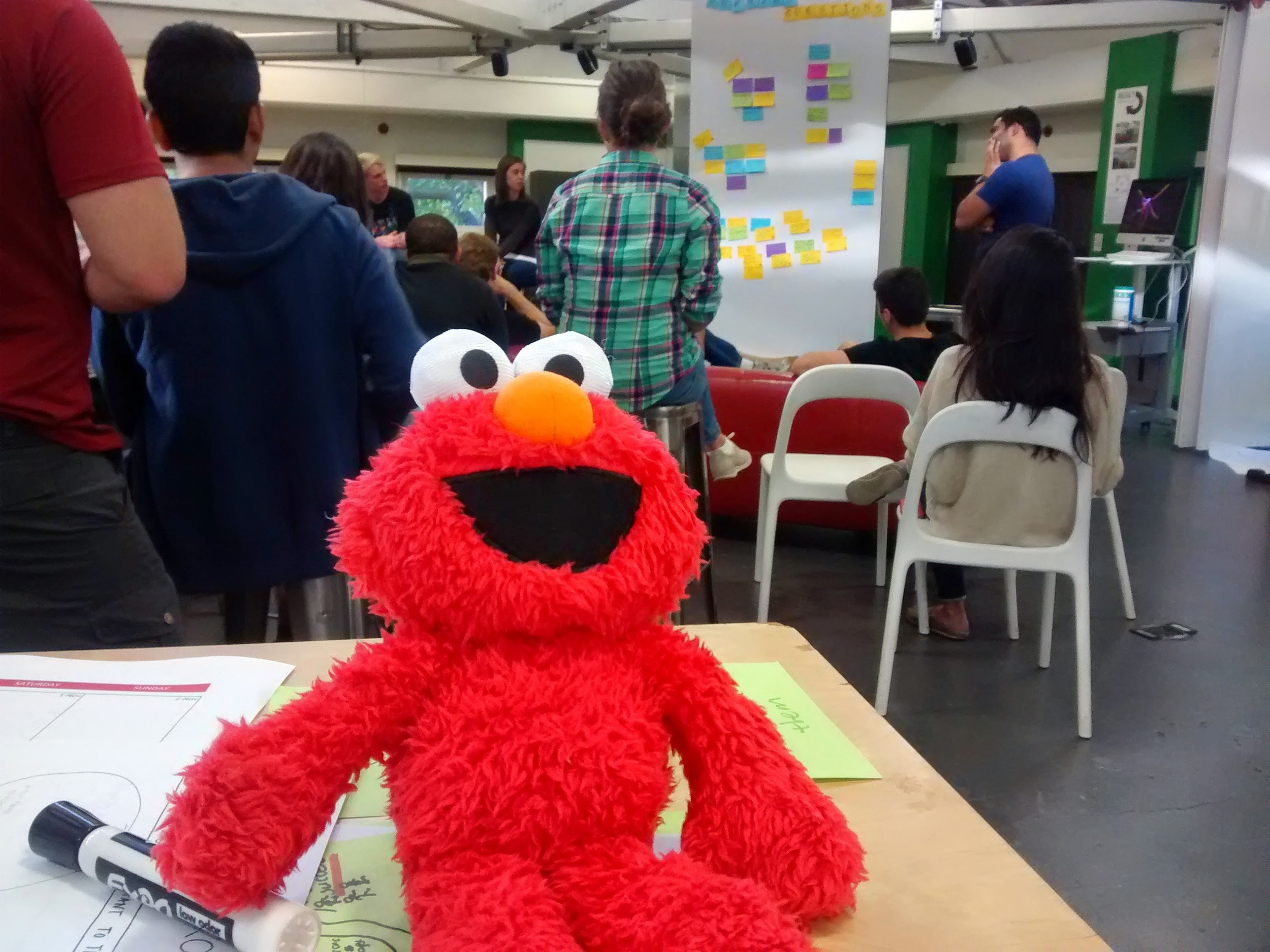 An Elmo plush toy makes an appearance during d.bootcamp. (Emi Kolawole)