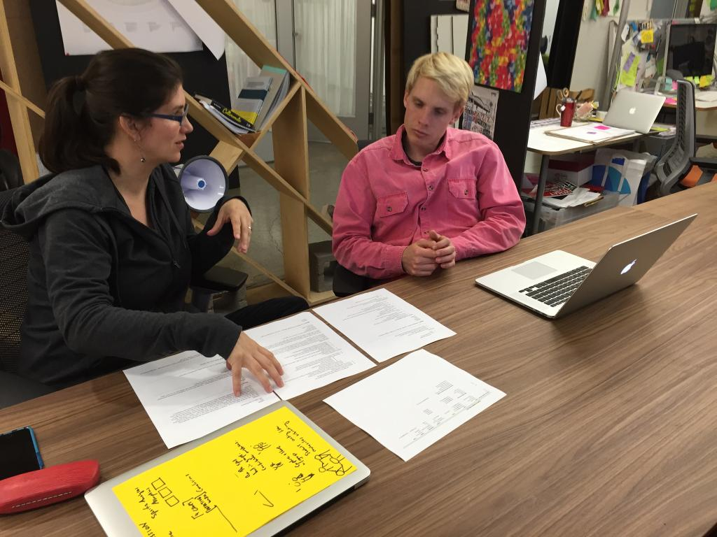 Carissa and Erik work together at the d.school on the experience assistant project. (Charlotte Burgess Auburn)