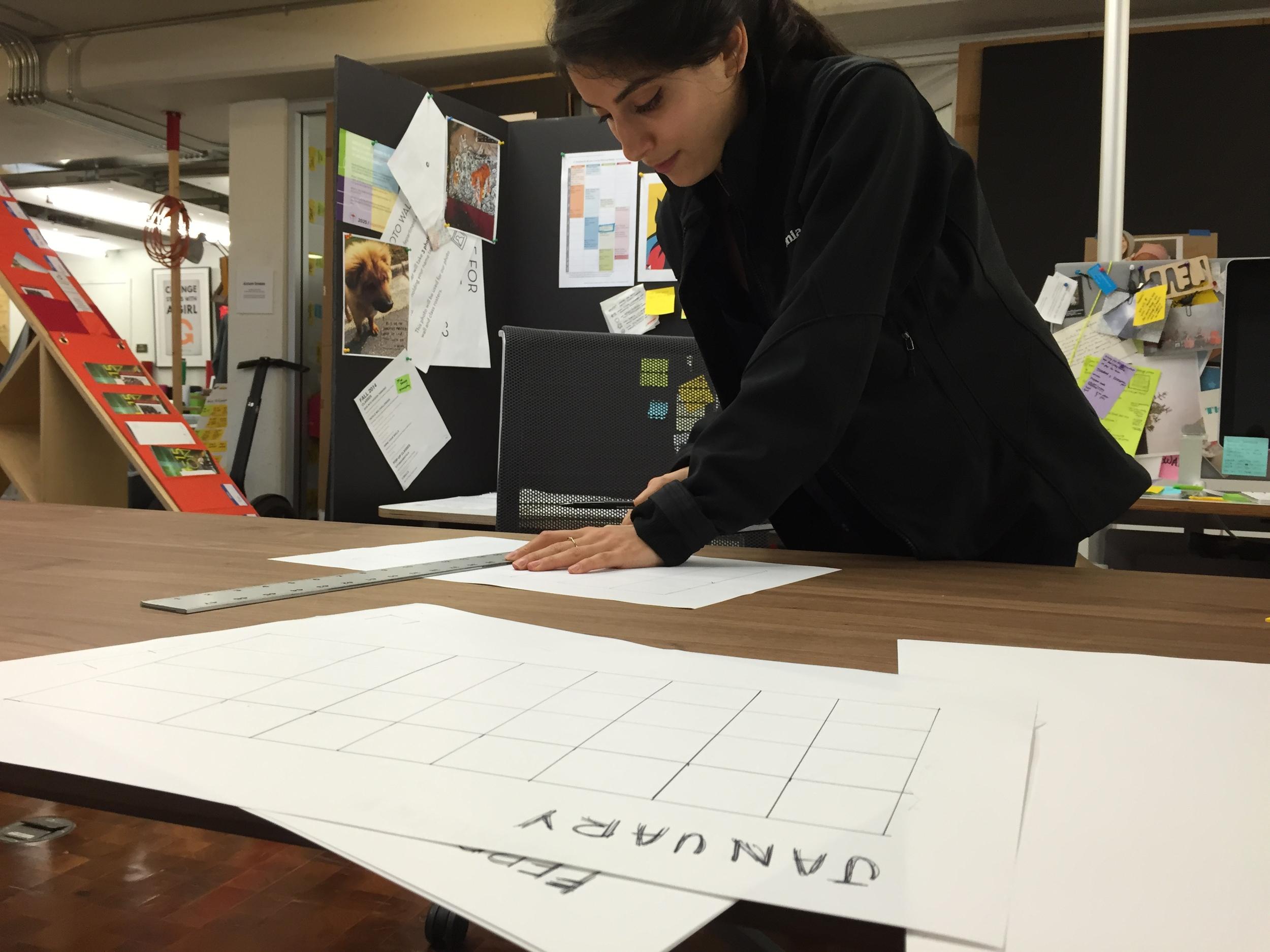 Tania works on class planning at the d.school. (Charlotte Burgess Auburn)