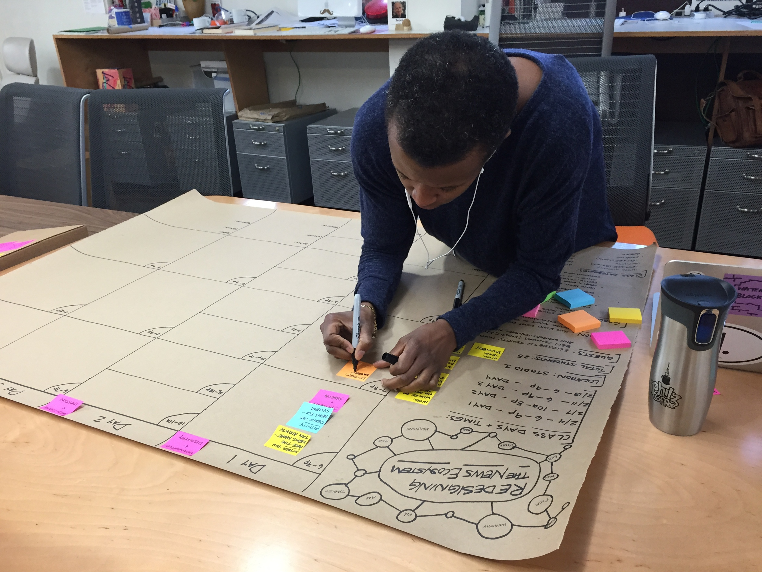 Here I am drowning in sticky notes while planning for an upcoming class. (Charlotte Burgess-Auburn)