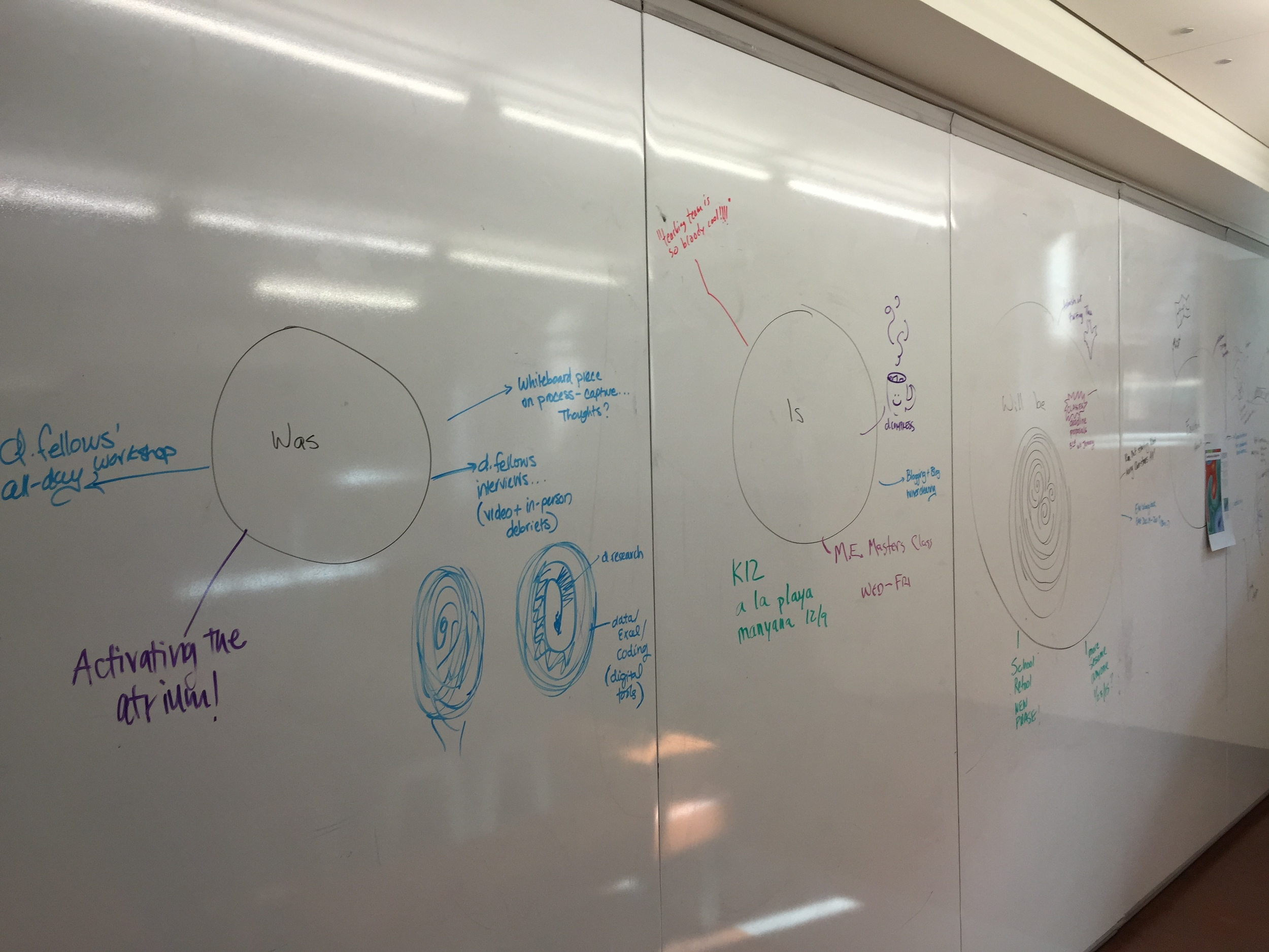 The whiteboards at the d.school following the Monday Morning Meeting (and some other work). (Emi Kolawole)