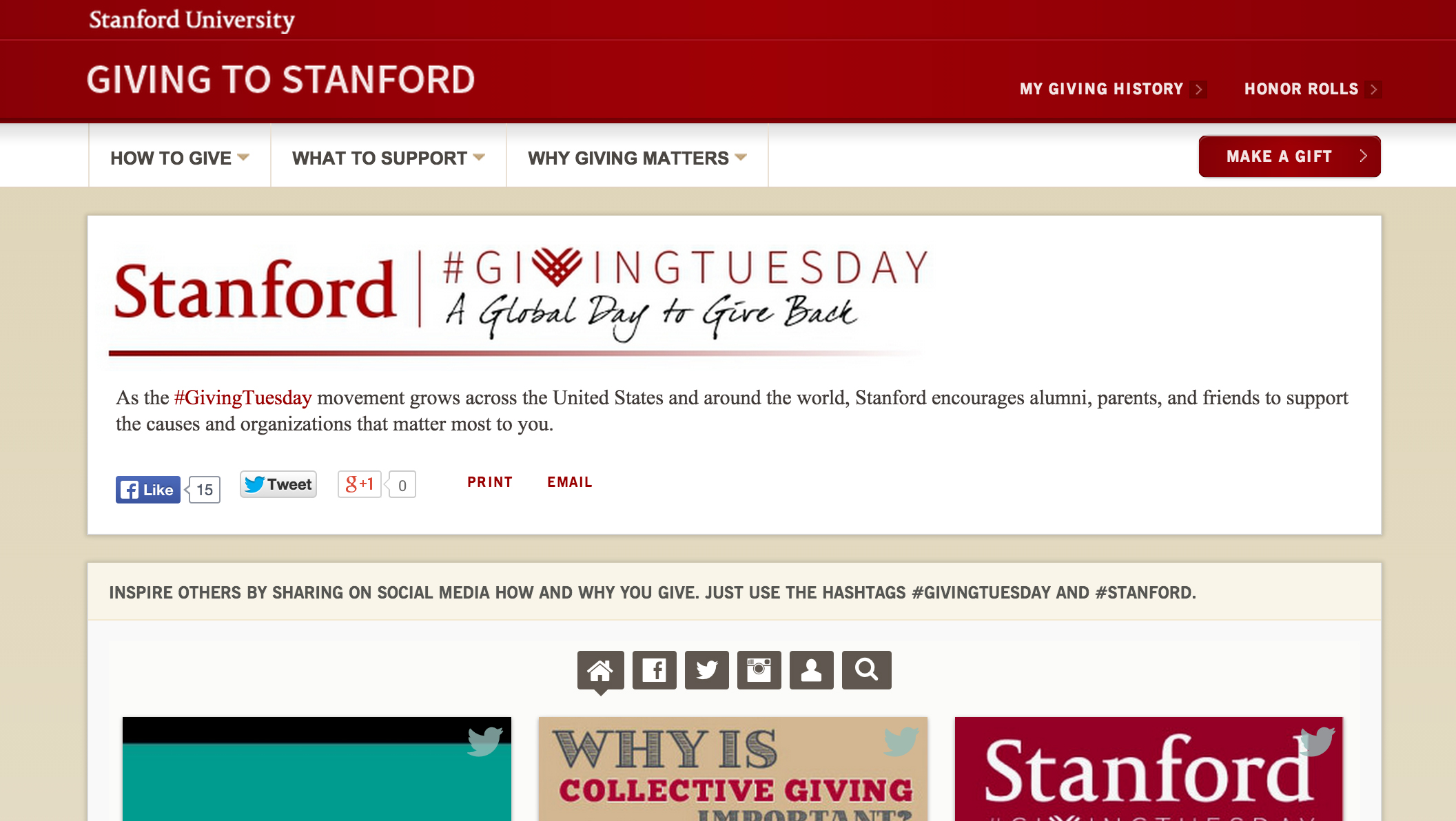 A screenshot of the Stanford #GivingTuesday site encouraging students, faculty, staff alumni and others affiliated with the Stanford community to give.