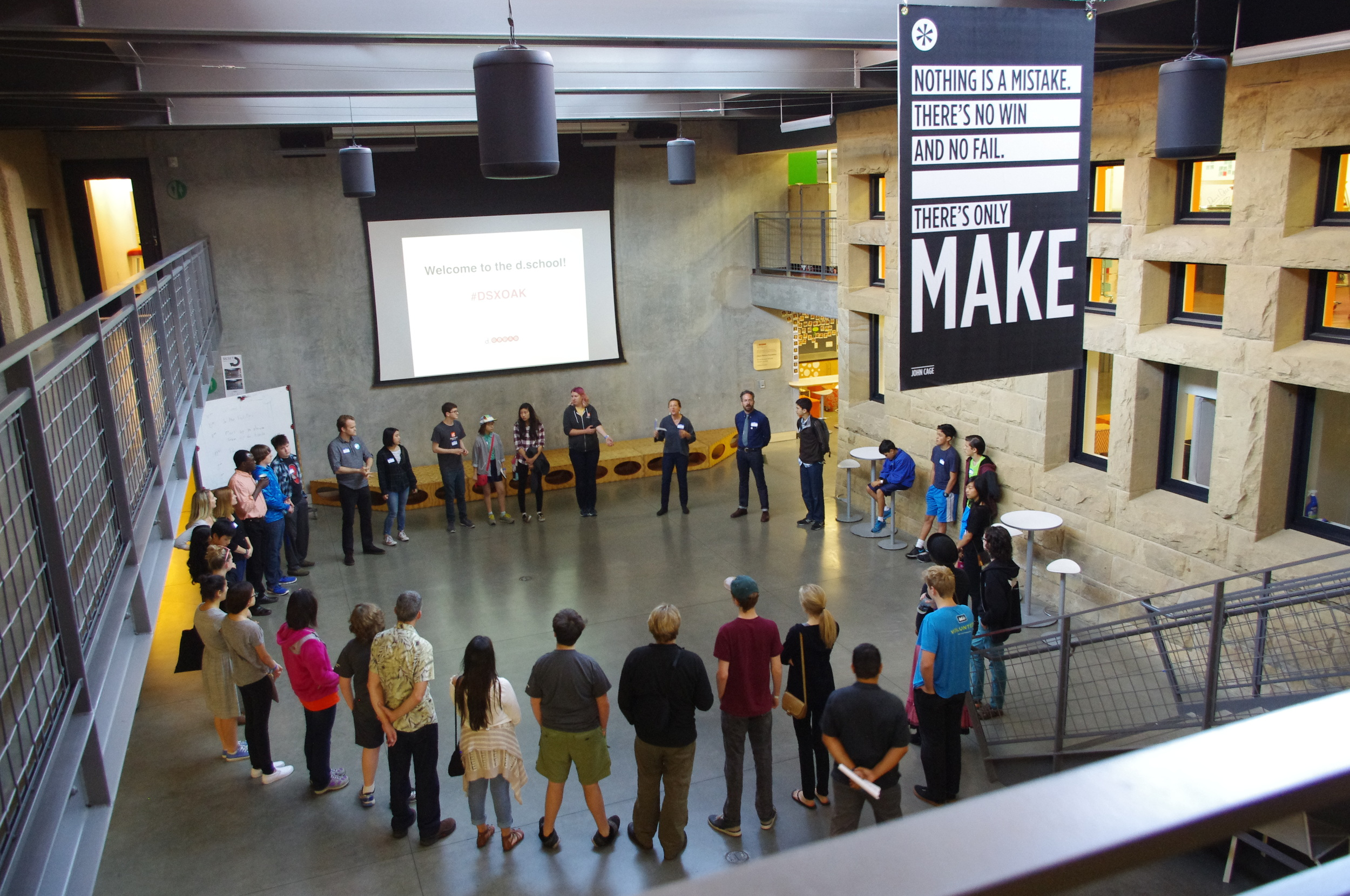 Students, facilitators, d.school fellows and instructors gather for Protopalooza in the d.school atrium this past spring. The event was hosted by d.school fellows David Clifford and Tim Shriver to guide students through a series of exercises to redesign the high-school experience.