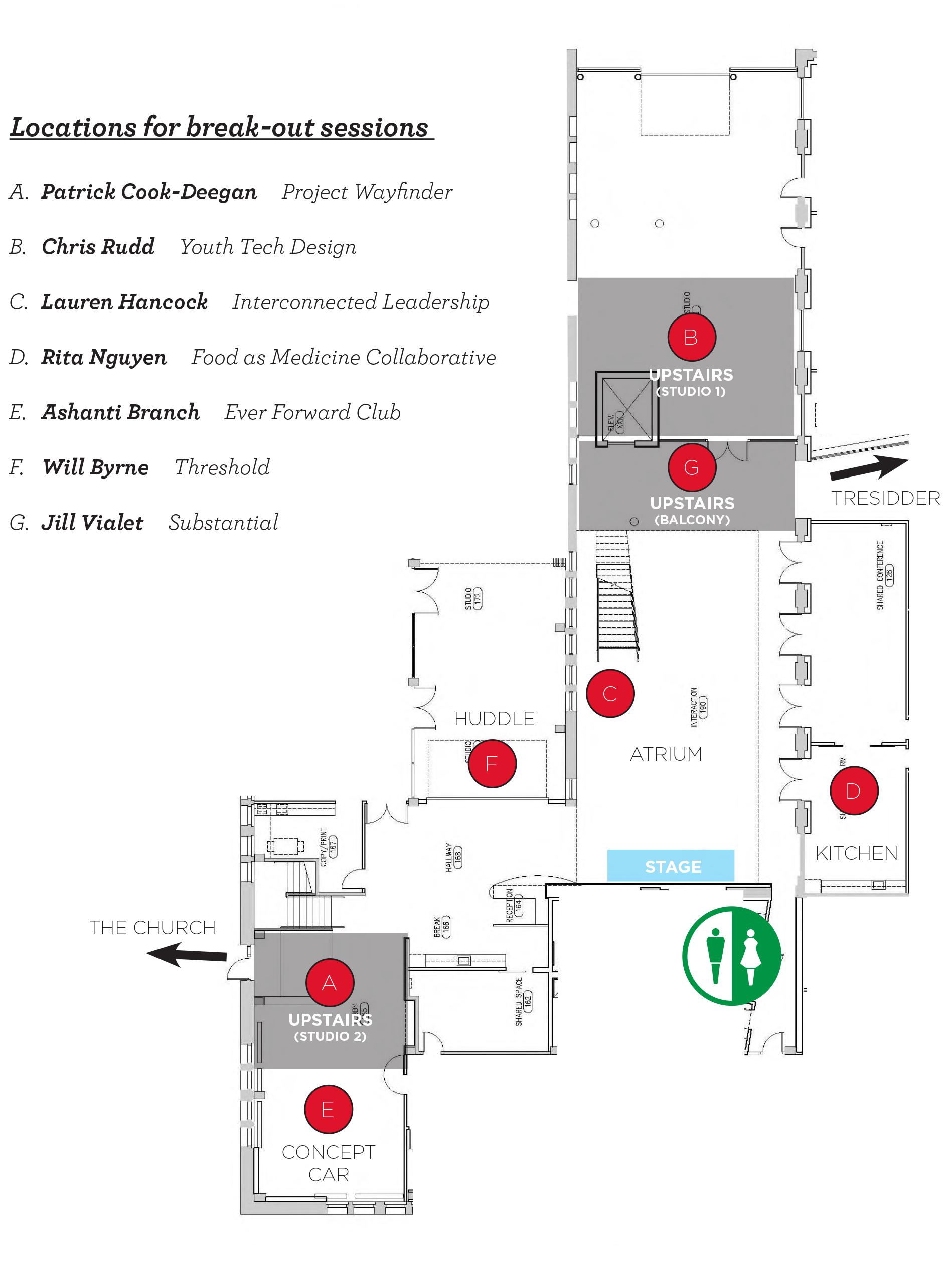 """A map of where the fellows presented their experiences during """"Lift Off!"""" at the Stanford d.school."""