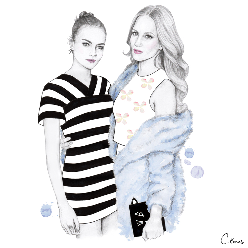 Cara and Poppy Delevingne,  OPSH 's ' Illustrated Guide to the World's Most Stylish Siblings ', 2014
