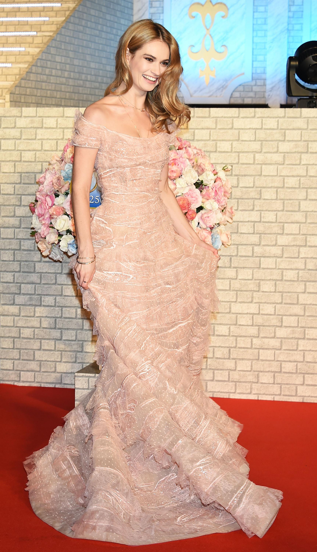 Tokyo premier of Disney's Cinderella. Lily James wearing Elie Saab.