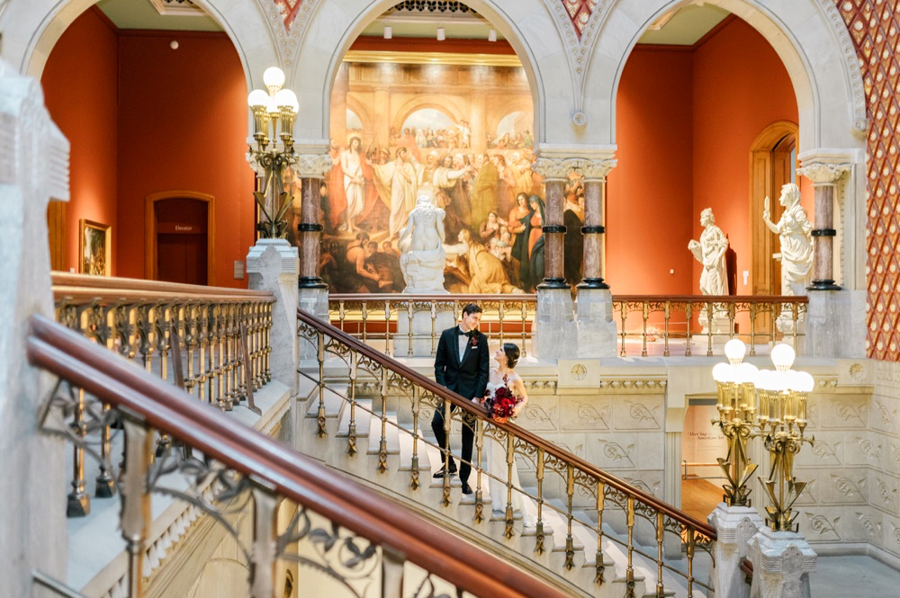 Modern Winter Art Gallery Wedding At PAFA - Featured On 100 Layer Cake | February 18, 2019