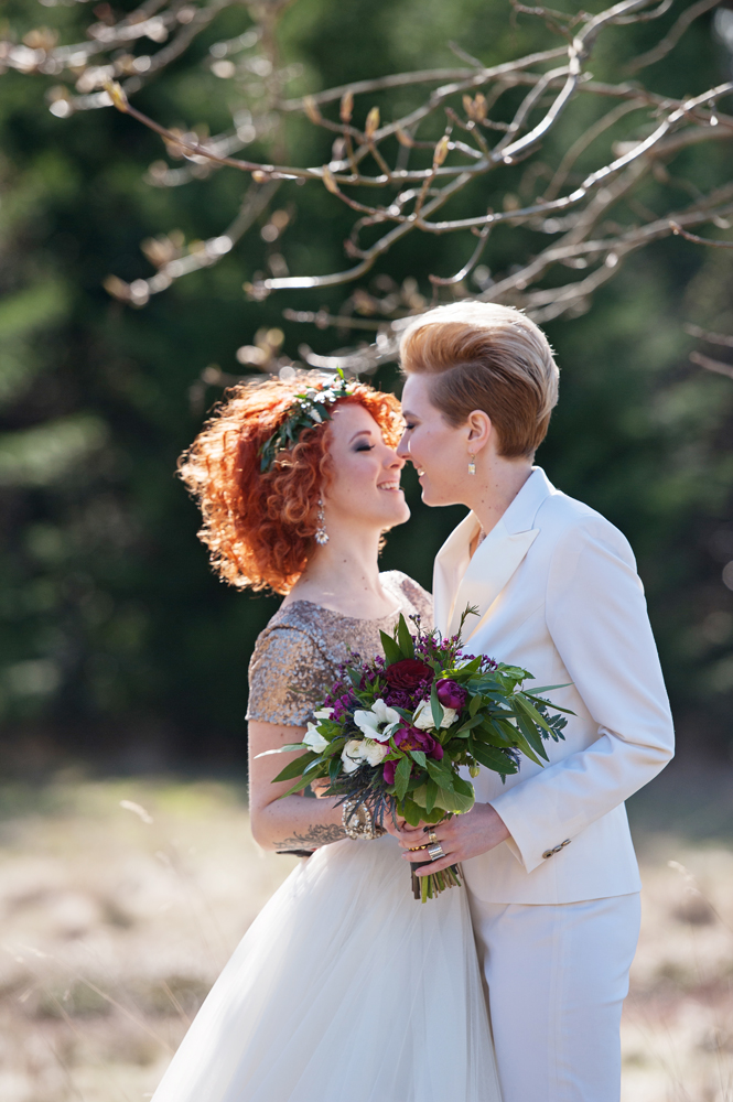 Alicia + Jem's Rocker chic same-sex wedding styled shoot  |  www.justloveweddings.ca