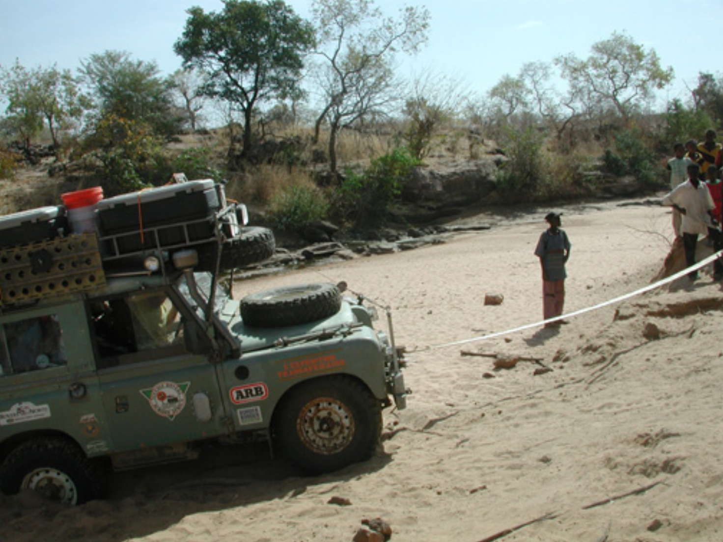 Michael Ladden's Land Rover being winched out in Mali Africa