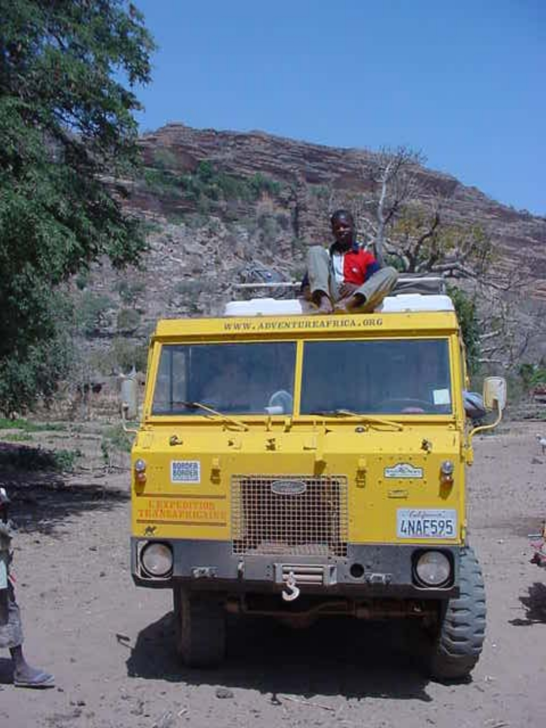 Our Land Rover Forward Control & our rooftop navigator