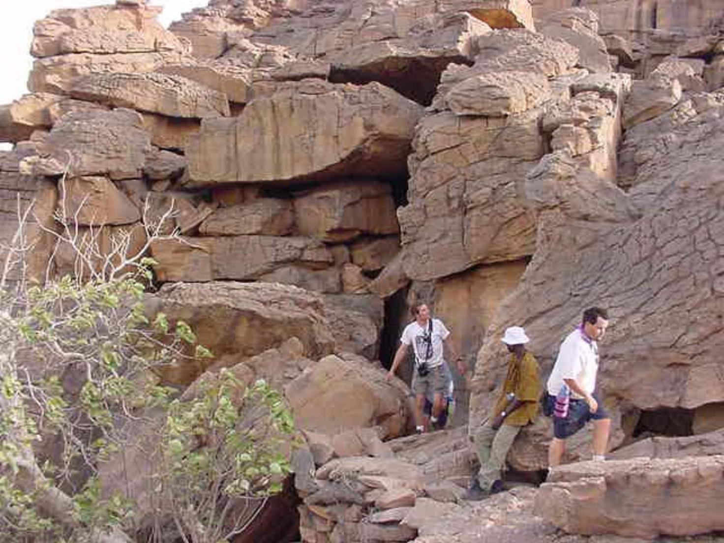 The group hikes around Dogon