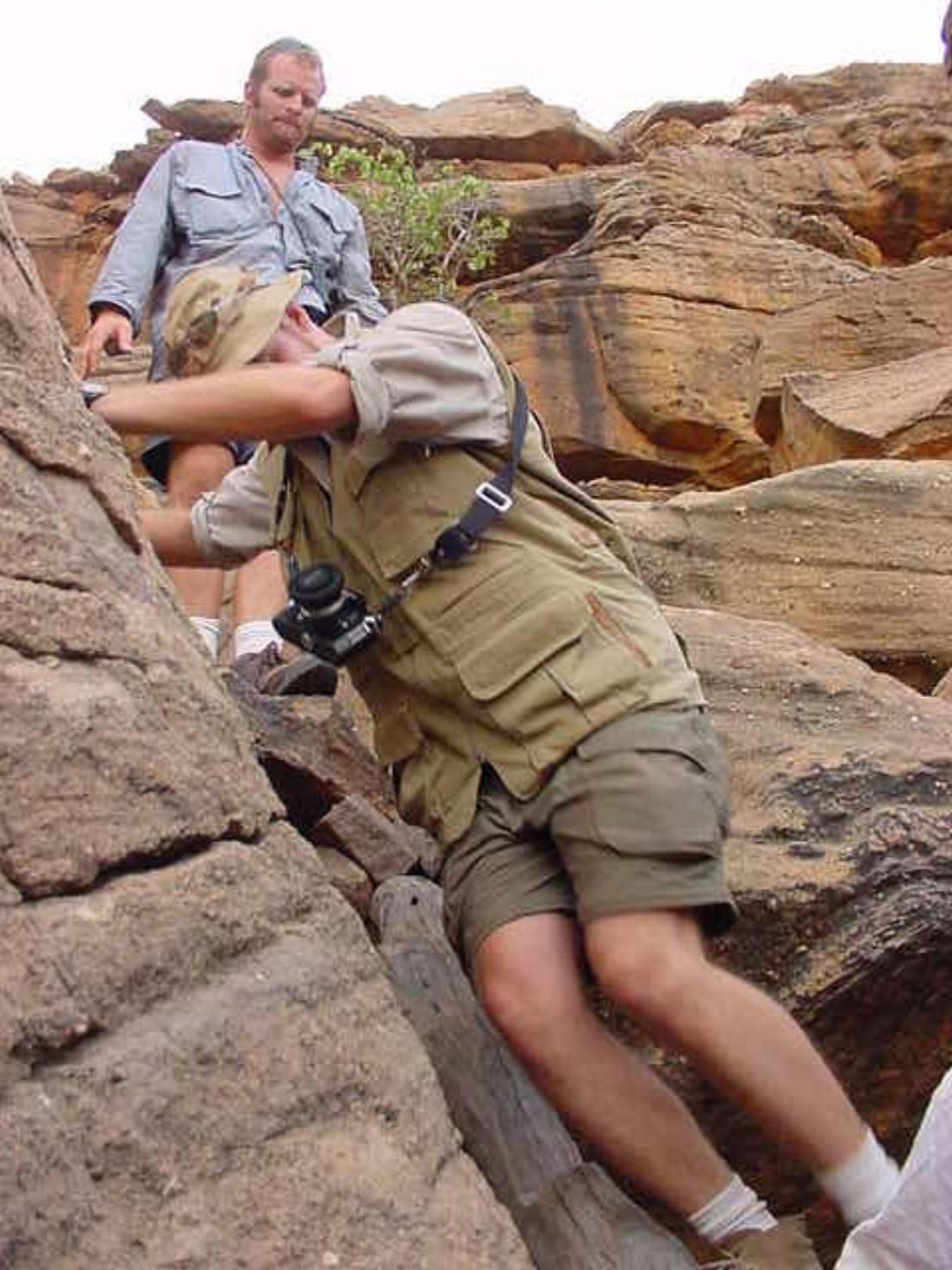 Carefully navigating the rocks