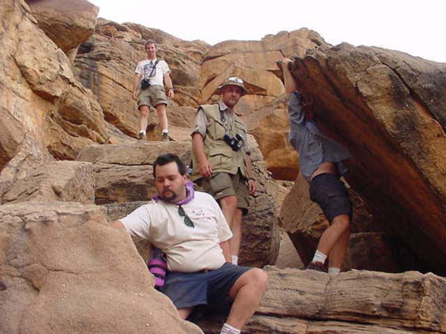 The Drive The Globe crew descends the Bandiagara