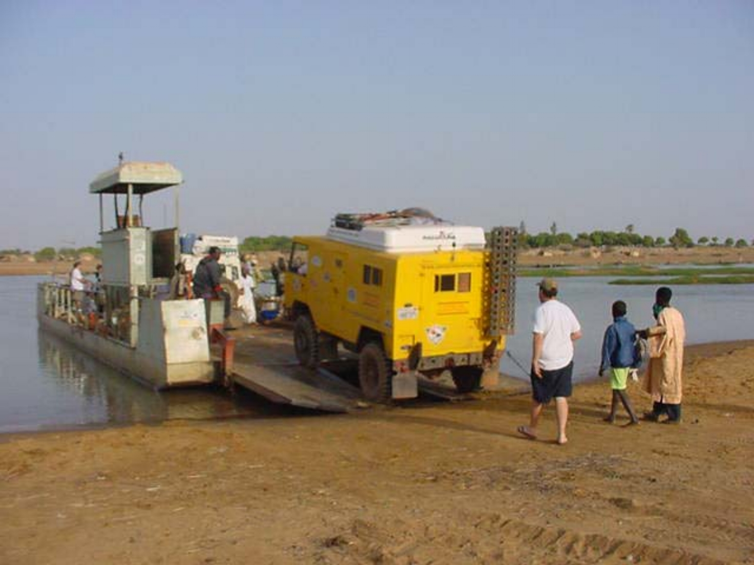 Our Land Rover forward control boarding the ferry to Djenne
