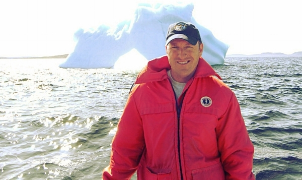 Michael Ladden with an iceberg off the coast of Labrador.