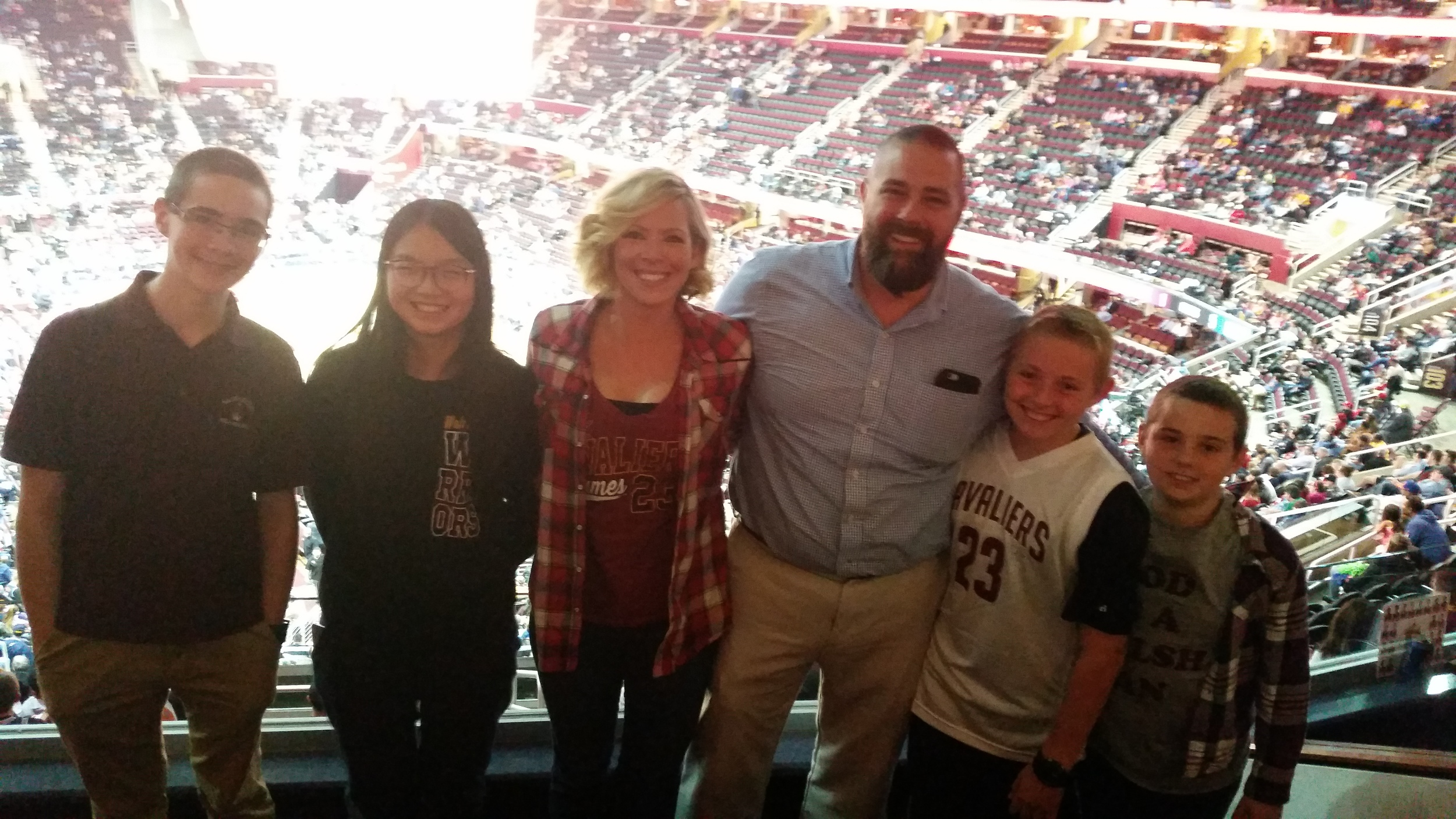 Above is the Waller Family enjoying a suite donated by the Cleveland Cavaliers.