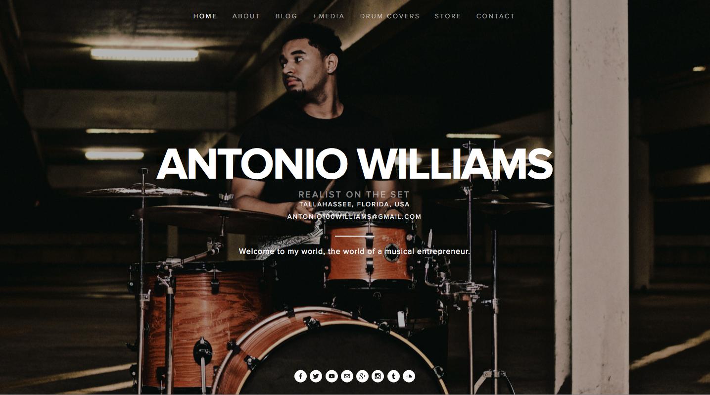Website screenshot for Antonio Williams, RealistOnTheSet.com.