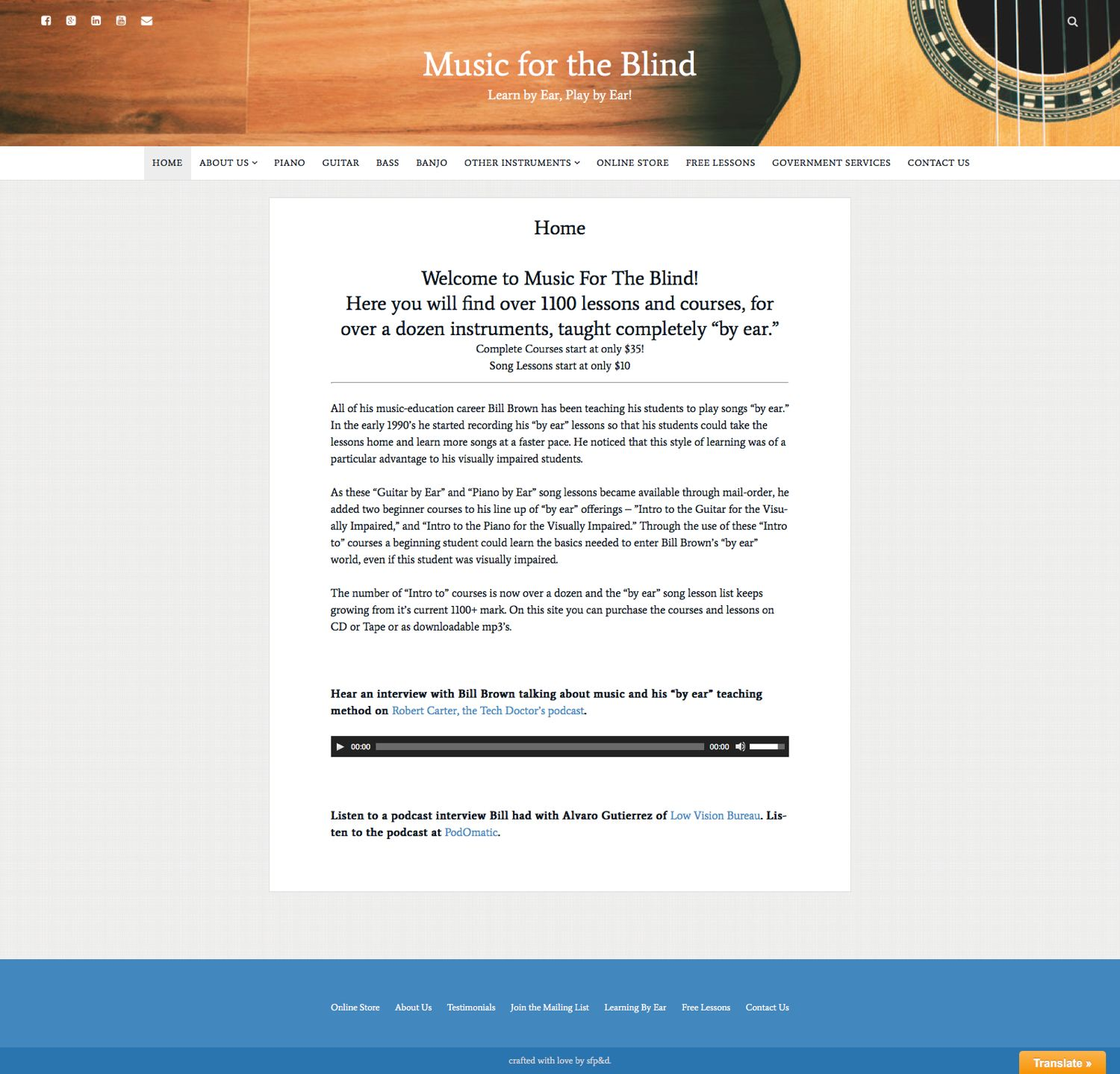 Homepage of the newly designed  musicfortheblind.com
