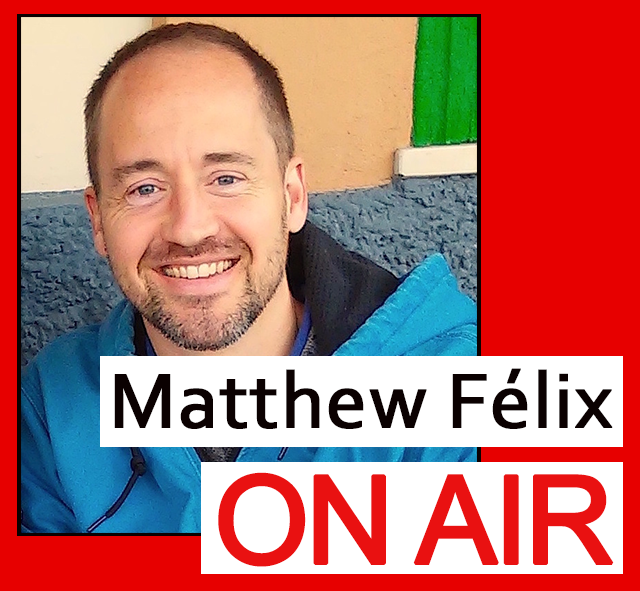 "Logo for writer Matthew Felix's ""Matthew Félix On Air"" weekly video podcast."