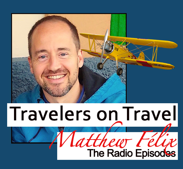 "Logo for author Matthew Félix's ""Travelers on Travel"" podcast."
