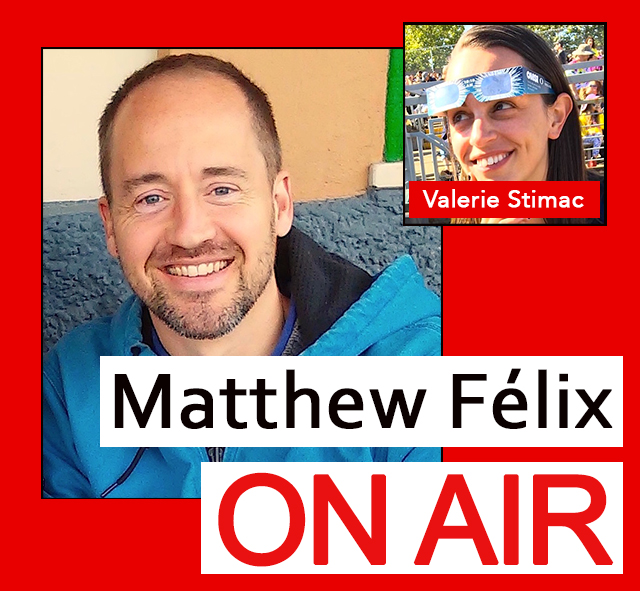 """""""Matthew Felix on Air"""" video podcast: Author Matthew Félix talks with travel writer Valerie Stimac about astrotourism, space tourism, and space camp."""