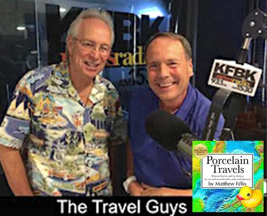 "Tomorrow at 3:35 Pacific! Tune into THE TRAVEL GUYS radio show, to hear author ""Matthew Felix"" talk about his new book, ""Porcelain Travels,"" Foreword INDIES Book of the Year Award Finalist. Show page: http://travelguysradio.com/ Hosted by Mark Hoffmann and Tom Romano. The show airs EVERY Sunday, from 3-4pm on KFBK AM 1530 and Newstalk 93.1 FM in Sacramento, CA. The show also streams live from kfbk.com."