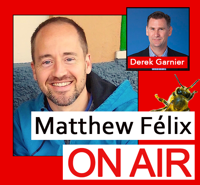 "Beekeeping: Episode of ""Matthew Felix on Air podcast."" Bees have been in the news a lot the past few years, both for the critical problems they've been facing and our increasing awareness of how important they are not only intrinsically, but to our own survival. I talked all things bees with urban beekeeper Derek Garnier. We discussed why we need our fuzzy friends, the challenges they face, and how you can help. We also talked the how-tos of beekeeping, making honey, and much more!"