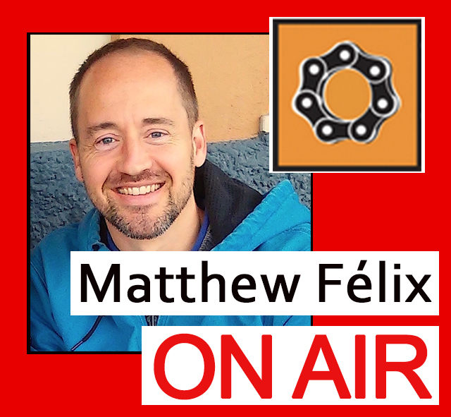 """On this episode of the """"Matthew Felix on Air"""" video podcast, which aired in March of last year, author Matthew Félix talks with San Francisco Bicycle Coalition's Communications Director, Chris Cassidy. We discuss the Coalition's history, mission, and initiatives. Chris also clues us into the the state of biking in San Francisco, including issues facing bikers and progress being made toward not only an increasingly bikable city—but an increasingly bikable world."""