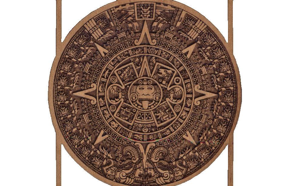 Laser Engraved Aztec Calendar