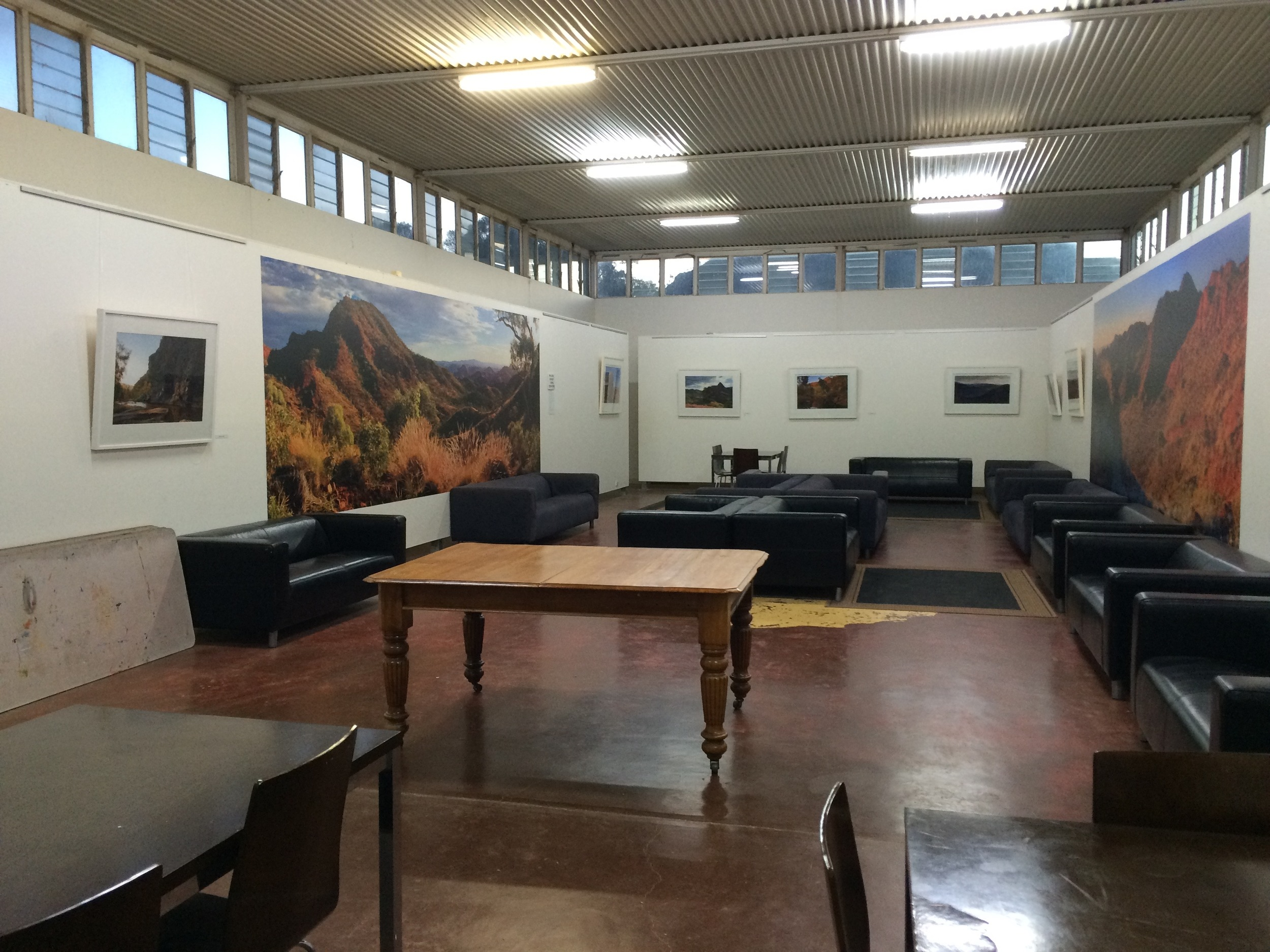 The Gallery at Arkaroola, this functions as a common room and dining area for visitors. It also became and excellent studio space for us during our stay.
