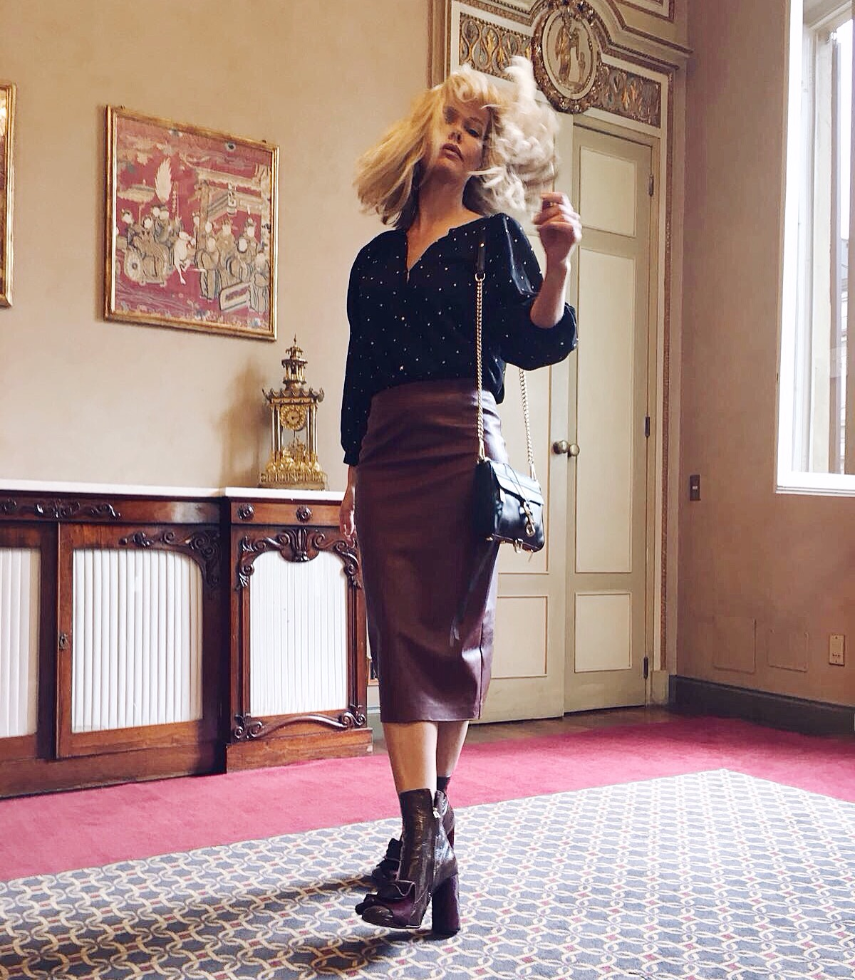 I wore a Kristina Ti blouse, a Pinko skirt, Kalliste shoes and a Rebecca Minkoff bag..Ph by Justine Mattera.