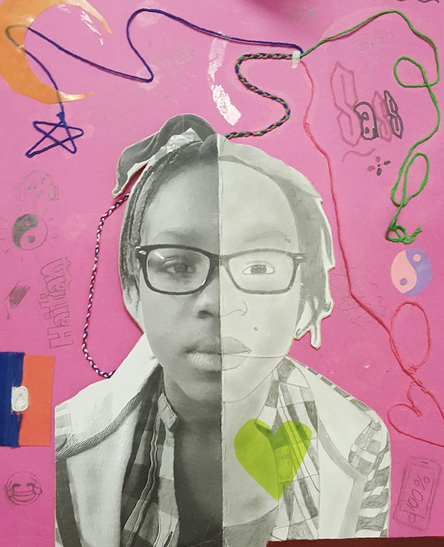 Self-portrait by Stephanie Adams, grade 7. In this project, self-reflection was encouraged as students were asked to contrast who they truly are with how others see them.