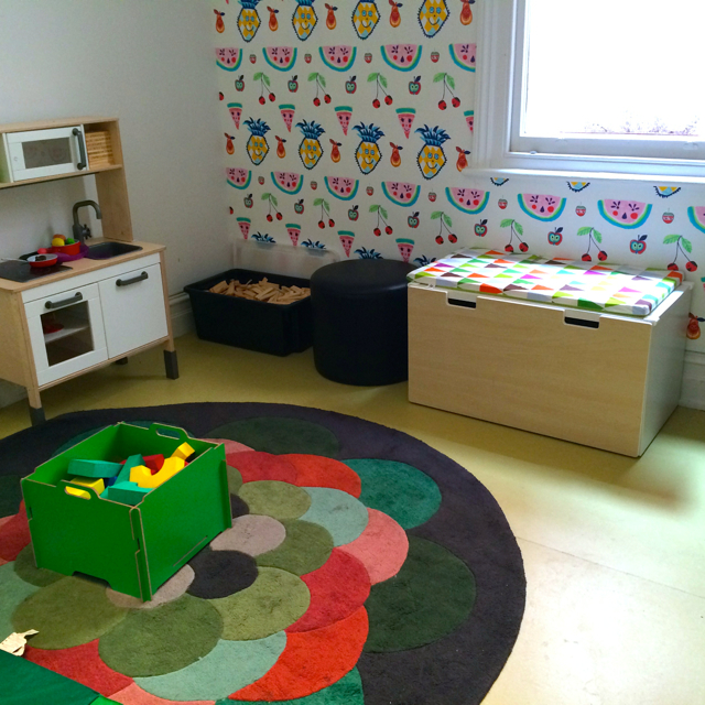 Habitots inside kitchen/play room