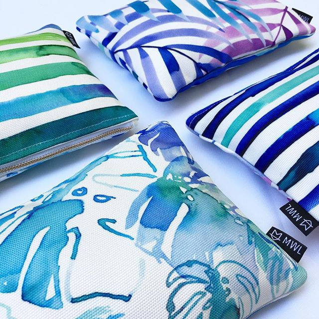 Endless Summer clutch - top & bottom left (two sides -front & back) and Palm Cove - top & bottom right (two sides - front & back)
