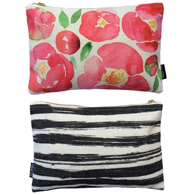 Secret Garden clutch - watercolour peonies (front) and black ink strokes (back)