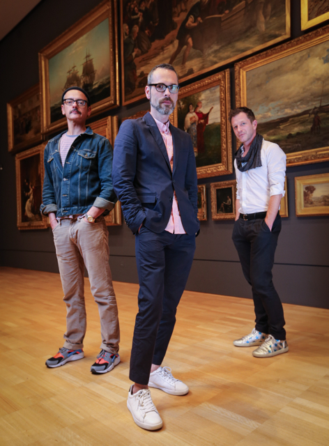 Rolf Snoeren, Viktor Horsting, Viktor&Rolf and Thierry-Maxime Loriot, Curator, Viktor&Rolf: Fashion Artists at the National Gallery of Victoria, Melbourne, Australia Image Credit: Wayne Taylor