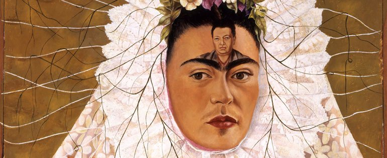 Frida Kahlo - Diego on my mind (Self-portrait as Tehuana) 1943 - oil on masonite - The Jacques and Natasha Gelman - Collection of Mexican Art - © 2016 Banco de Mexico Diego Rivera - Frida Kahlo Museums Trust, Mexico DF - Taken from Art Gallery of NSW website