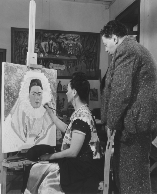 Bernard Silberstein - Frida paints self-portrait while Diego observes 1940 - gelatin silver print - The Jacques and Natasha Gelman - Collection of Mexican Art - © Nickolas Muray Photo Archives - Supplied by Art Gallery of NSW