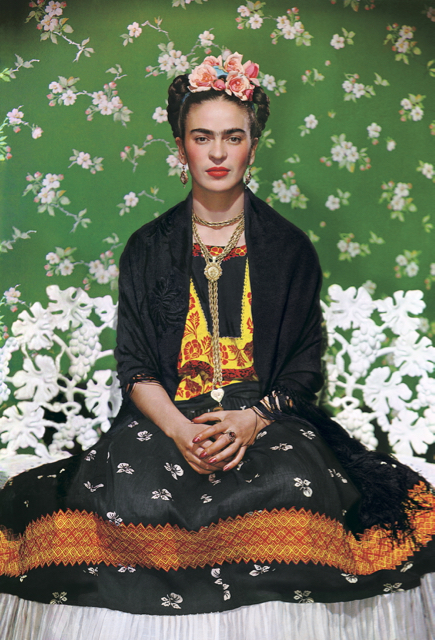 Nickolas Muray - Frida Kahlo on white bench 1938 - carbon print - The Jacques and Natasha Gelman - Collection of Mexican Art - © Nickolas Muray Photo Archives - Supplied by Art Gallery of NSW