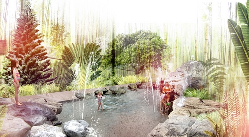Design element: Artesian Water Play area  Illustration credit: Centennial Parklands