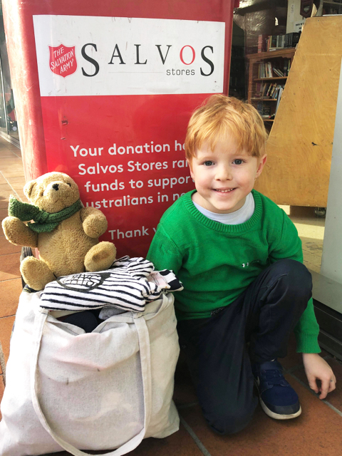 Donating clothes to charity - Photo credit: @kateflatman @busycitykids
